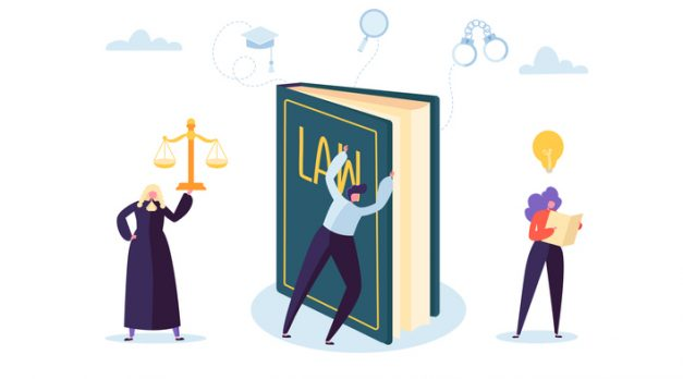 Law and Justice Concept with Characters and Judical Elements, Lawbook, Lawyer. Judgment and Court Jury People. Vector illustration